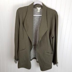 Matty M 100% Cotton Olive Green Open Front Blazer